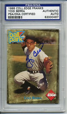Collectors Edge Autographed Card (Yogi Berra 1995 Collectors Edge Franks Signed Autographed Card PSA DNA 82000467)