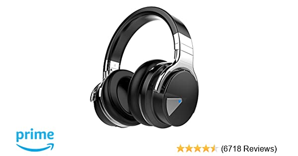 COWIN E7 Active Noise Cancelling Bluetooth Headphones with Microphone Hi-Fi Deep Bass Wireless Headphones Over Ear, Comfortable Protein Earpads, 30H Playtime for Travel Work TV Computer Iphone - Black