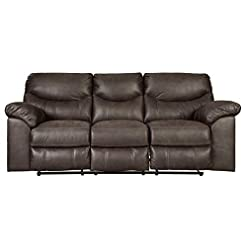 Farmhouse Living Room Furniture Signature Design by Ashley Boxberg Oversized Faux Leather Power Reclining Sofa, Dark Brown farmhouse sofas and couches