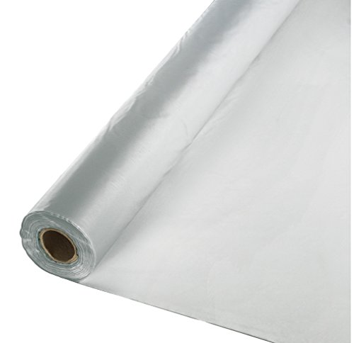 Creative Converting Roll Plastic Table Cover, 100-Feet, Shimmering Silver - 013017