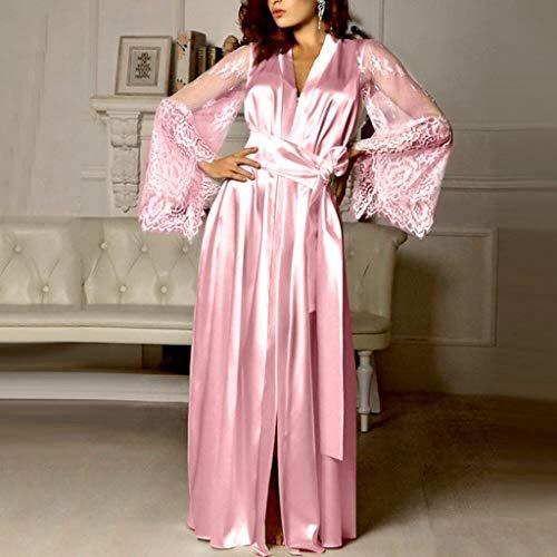 Pervobs Women Satin Pure Colour Long Sleeve Belt Long Nightdress Silk Lace Lingerie Nightgown Sleepwear Sexy Robe(L, Pink) by Pervobs Lingerie & Sleepwear (Image #1)