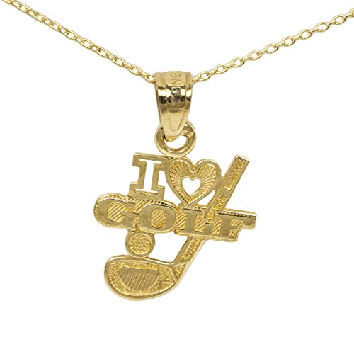 Player Charm 14kt Gold Jewelry (14k Yellow Gold Golf Pendant (20