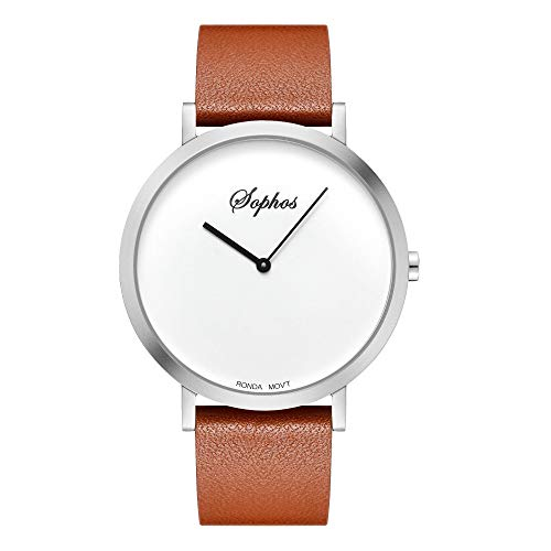 Sophos Collection Watches 42mm, Unisex Minimalist Waterproof Wrist Watch Analogue Quartz Adults Watch with Genuine Leather Watch Strap (White & Silver/Brown Leather Strap)
