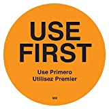 """DayMark IT114815 MoveMark """"USE FIRST"""" Trilingual Removable Label, 2"""" Circle, Orange (Roll of 500)"""