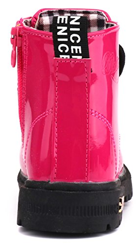 LONSOEN Boys Girls Waterproof Lace/Zip up Kids Boots, Hot Pink, KDB002 CN31 by LONSOEN (Image #4)