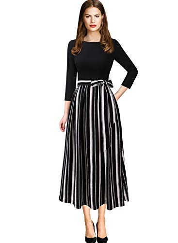 VFSHOW Womens Elegant Patchwork Pockets Print Work Casual A-Line Midi Dress 1758 STP S