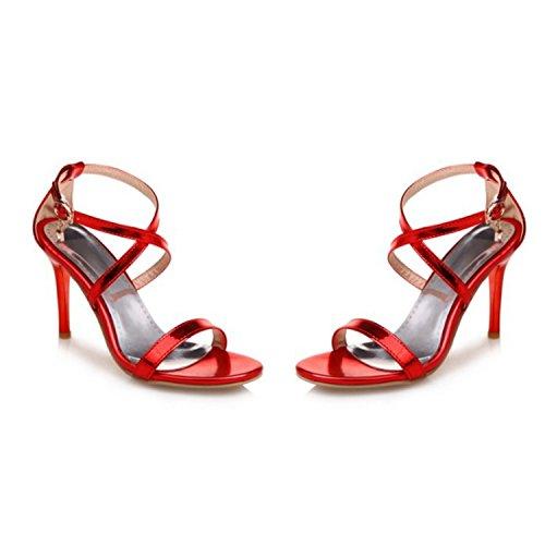 Nonbrand Women's Slim Heel Red Buckle UK 0 t1EgvFb