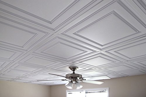 Amazon Ceilume 40 Pc Stratford UltraThin FeatherLight 40x40 Lay Adorable Decorative Drop Ceiling Tiles 2X2