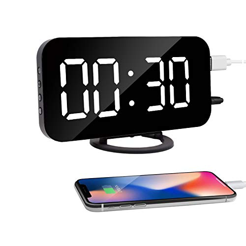 HuiSmart Digital Mirror Alarm Clock Double USB Charging Ports Extra Large LED Display (White)