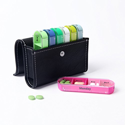 XINHOME Weekly Travel Pill Organizer Box - Prescription and Medication Reminder Pill Box, Pill Case Daily AM PM, Day Night 7 Compartments-Includes Black Leather Pouch, for 4 Times A Day, 7 Days a Week by XINHOME