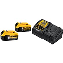 DEWALT DCB205-2 20V MAX XR 5.0Ah Lithium Ion Battery, 2-Pack & DEWALT DCB115 MAX Lithium Ion Battery Charger, 12V-20V