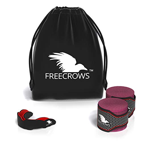 FreeCrows – Boxing & MMA Hand Wraps – MMA Mouthguard – Set of 2 PRO Boxing Equipment for Training, Fighting and Sparring