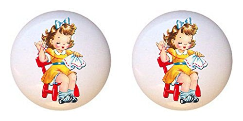 Sewing Drawer Pulls - SET OF 2 KNOBS - Sewing Girl - Crafts Sewing - DECORATIVE Glossy CERAMIC Cupboard Cabinet PULLS Dresser Drawer KNOBS