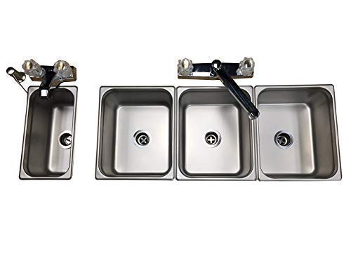 3 Compartment Individual Custom (Hotel Pans) Drop In Sink with Hand Wash DIY Portable for Food truck kiosk vendors with hot water 17 pieces
