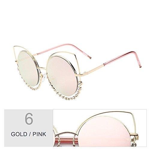 Diamond mujeres Señor tonos gris para el plata Pink de Cat sol Gold de Eye degradado Gafas de de espejo de Sunglasses gafas UV400 gafas a TL sol gradual de I74T5a7