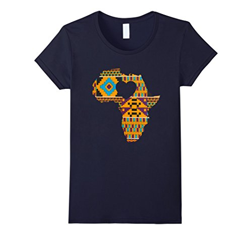 Women's Africa Heart Love Black Culture Dashiki T Shirt M...
