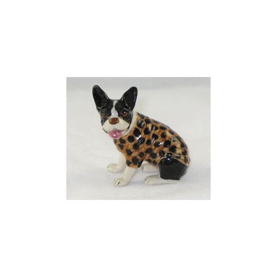 FRENCH BULLDOG Dog Sits n BLACK Polk A Dot SWEATER New MINIATURE Figurine Porcelain KLIMA L508A