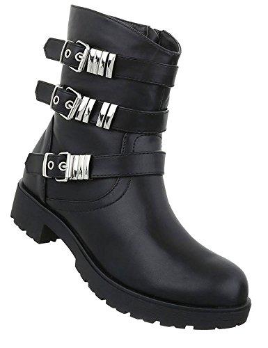 76365ac8d98ba8 Damen Stiefeletten Biker Boots Reißverschluss Knöchelhohe Stiefel ...
