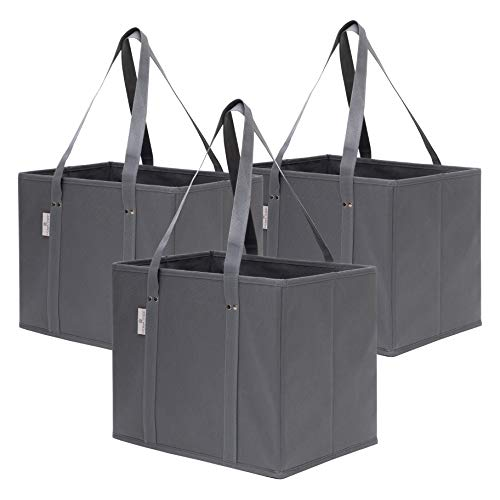 3 Pack Reusable Grocery Shopping Box Bags | Collapsible and Durable Premium Tote Box Set with Reinforced Bottom for Groceries, Shopping and Trunk Organizer | Stylish Design and Colors (Grey)