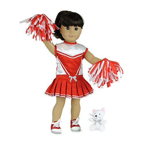 "18"" Doll Clothes: Cheerleader 3 Pc. – With Red/White Sati..."