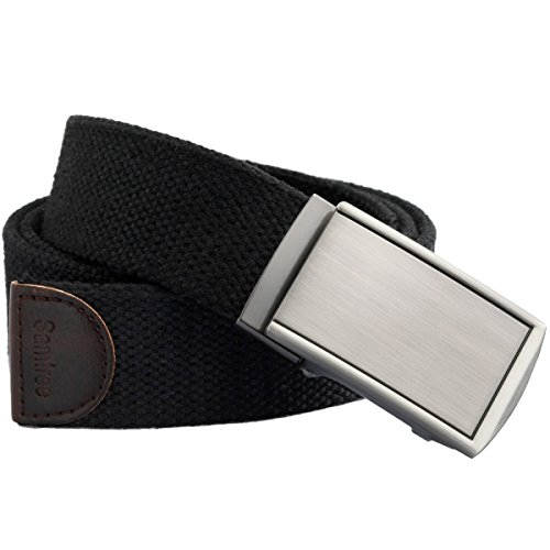 Samtree Canvas Web Belts for Men Womens,Adjustable Military Automatic Buckle Belt(01-Black)