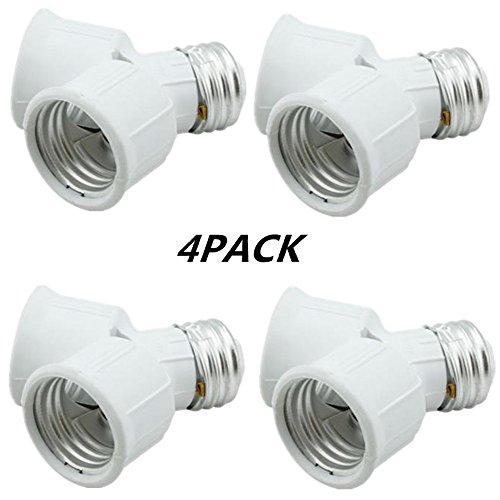 Twin Socket Adapte, Light Bulb Socket Splitter For LED, CFL and Standard Bulbs, E26 to Dual E26 US Standard Screw Light Holder Adapte ,white, 4-pack (Socket Adapter Light Twin)