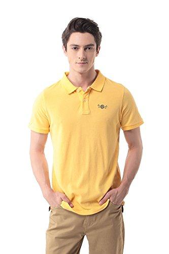 Pau1Hami1ton Men's Short-Sleeve Cotton Solid Pique Polo Shirt T-06(L,Yellow)