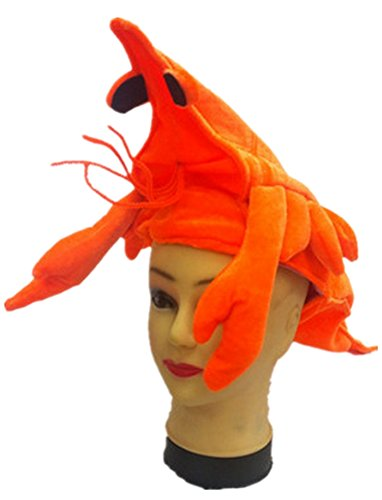 Funny Multicolor Halloween Festival Party Creative Stereoscopic Marine life Mardi Gras Party Costume Hat (Orange shrimp soldiers)