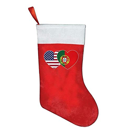 Lovexue Portugal USA Flag Twin Heart Felt Christmas Stocking Party Accessory by Lovexue