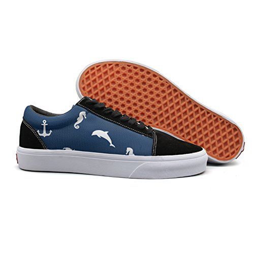 VCERTHDF Print Trendy Sea Pattern. Anchor, Dolphin, Crab, Steering Wheel And Sea Horse Low Top Canvas Sneakers by VCERTHDF