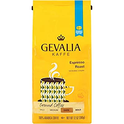 Gevalia Espresso Blend Coffee, Dark Roast, Ground, 12 Ounce Bag