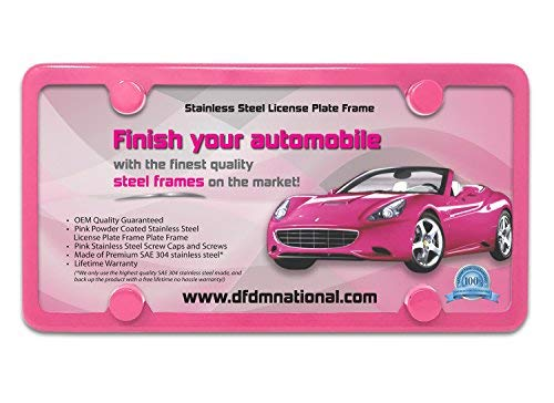 DFDM National Stainless Steel License Plate Frame – Premium Pink Powder Coating Complete Kit, Includes Screws, Fasteners, Caps, and Foam Pads 4 Hole Bracket - Standard (Non Anti-Theft) Model
