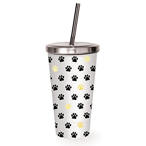 Cypress Home Paw Prints Stainless Steel Insulated Travel Cup with Straw, 16 ounces from Cypress Home