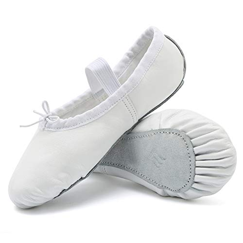 Price comparison product image CIOR Girls Leather Ballet Slipper/Ballet Shoes/Yoga Dance Shoe(Toddler/Little/Big Kid/Women),DNDTWXYP,White,24