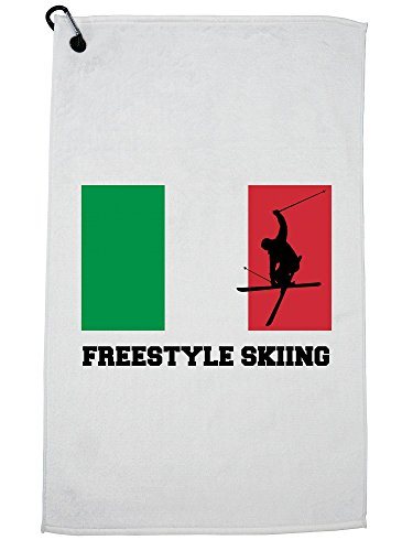 Hollywood Thread Italy Olympic - Freestyle Skiing - Flag - Silhouette Golf Towel with Carabiner Clip by Hollywood Thread
