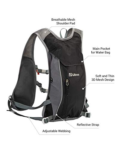 Ubon Running Hydration Backpack with 2L Water Bladder Unisex Ultralight Marathoner Vest Cycling Hiking Water Pack