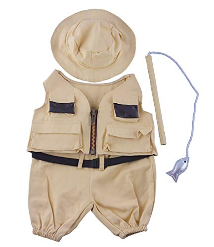 Fisherman w/Hat and Pole Outfit Teddy Bear Clothes Fit 14 - 18 Build-A-Bear and Make Your Own Stuffed Animals    - Fish Teddy Bear