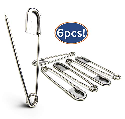 Buy Bargain Bastex 6 Pack of 5 Inch Safety Pins. Extra Large Heavy Duty Stainless Steel Pin for Laun...