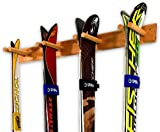 StoreYourBoard Timber Ski Wall Rack, 4 Pairs of