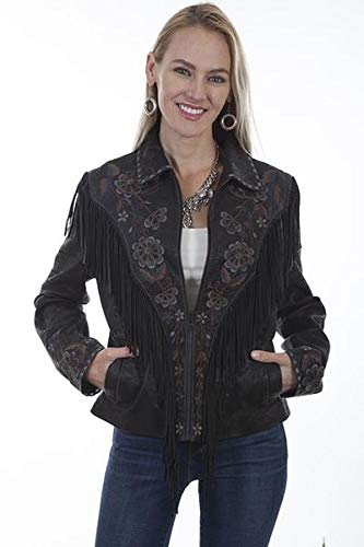 (Lara Lea Leather & More, LLC Embroidered Fringe Suede Jacket - XXL, Vintage Black)