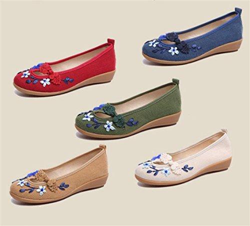 DADAWEN Women's Slip-On Espadrille Flats Pumps Walking Shoes Red 9Mr9iNT7n
