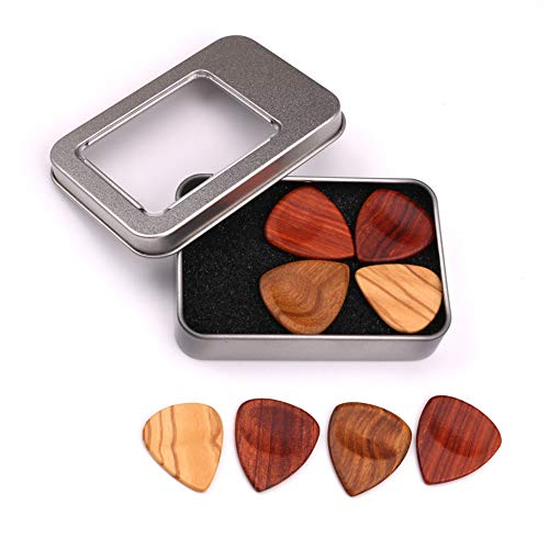 Guitar Picks Bag by Ammzzoo111, 4Pcs Wooden Guitar Bass Mandolin Pick Plectrums Set Accessories with Iron Box