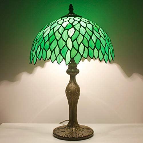 Tiffany Style Table Lamp Reading Light Green Wisteria Stained Glass Shade W12H18 Inch Tall S523 WERFACTORY LAMPS Lover Parent Kid Living Room Office Bedroom Bedside Desk Antique Zinc Base Crafts Gifts