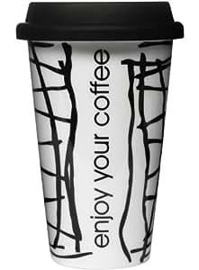 """Sagaform Mug Enjoy - Taza de café para llevar, diseño con texto """"enjoy your coffee"""", color blanco y negro"""