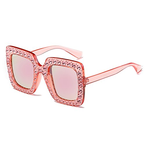 - BEESCLOVER Fashionable Rhinestone Big-frame Sunglasses Street Snap Party Eyewear Birthday Gift Ornament pink frame with pink lens Full rhinestone frame
