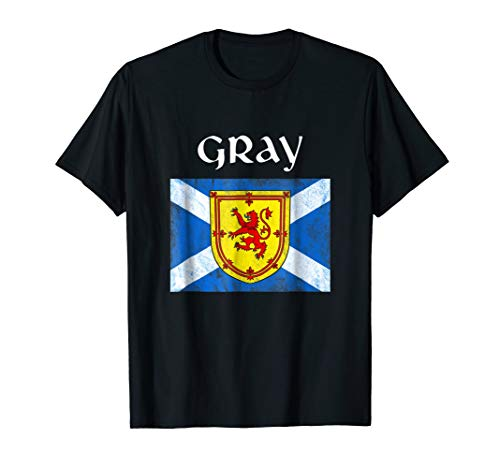 (Gray Scottish Clan T Shirt Coat Arms Lion Flag)