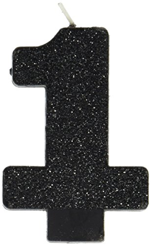 amscan Birthday Celebration, Numeral #1 Glitter Candle, Party Supplies, Black, 3 1/4
