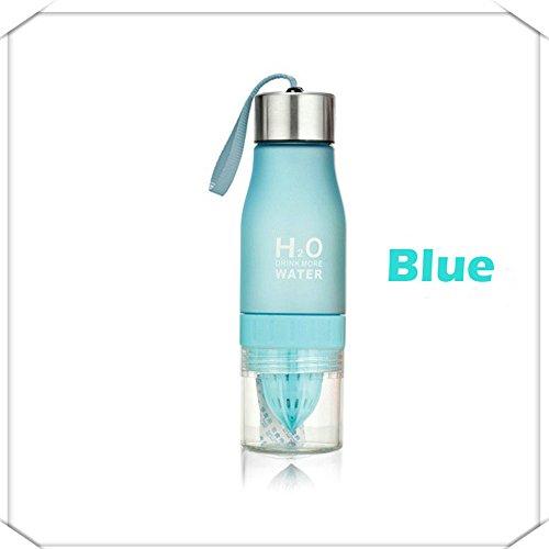 (Toonol 2017 650ml Water Bottle H20 Plastic Fruit Infusion Bottle Infuser Drink Outdoor Sports Juice Lemon Portable Water,Color Blue)