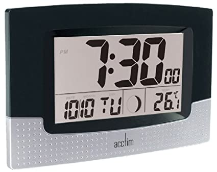 Acctim 21483 Luna - Reloj de pared digital, color negro y plateado