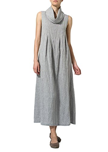 Vivid Linen Sleeveless Cowl Neck Long Dress-M-Two Tone Gray White - Sleeveless Cowl Neck Dress